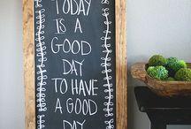 Chalkboard, cork board