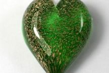 Memorial Glass - Handheld Hearts / Beautiful memorial glass paperweights containing your loved ones ashes.