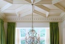 Stunning Ceiling Inspiration / Looking to take advantage the fifth plane (ceiling) in an otherwise boring room?? Look no further; Here are a few images that are sure to inspire you to tackle those popcorn ceiling blues.