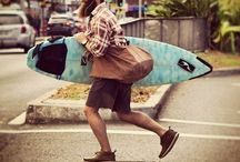 surfing and longboarding