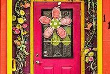 Door, coloured windows