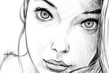 Faces: Drawing and Painting / Drawing of faces including eyes, ears, nose and mouths.