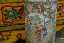 Asian Umbrella Stands / Hand-made Porcelain stands that brighten any entrance or corner to a room.
