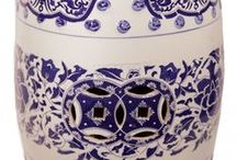 Blue and White Garden Stools / Very nice blue and white designs with classic look.