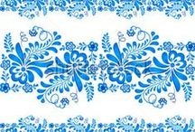 Russian Gzhel ornaments & patterns. / .