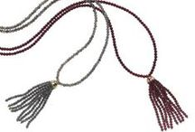 Bloomsbury Tassel / From our Bloomsbury collection - Tassel long necklaces, labradorite and yellow gold, garnet and rose gold and onyx and white gold.