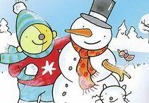 """winter / Winter in Nederland. Kijk voor ijsberen, pinguins en Eskimo's op het bord """"De poolgebieden""""."""