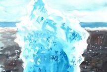 ISLANDE glaces du lac Jökulsàrlon / gouaches sur papier
