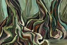 """DOMINICA arbres sur le """"syndicate trail"""" / acryliques sur papier"""