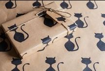 Hand Printed Recycled Wrapping Paper / A collection of hand printed wrapping papers, all printed onto 100% recycled kraft paper - designed and printed by myself. Available to purchase in my Etsy shop.