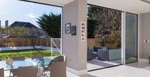 Sliding Patio Doors / Inspirations for beautiful home designs and extensions, that merge inside with the outside through glazing solutions. Perfect Crystal Windows Ltd www.perfectcrystal.co.uk