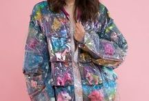 Transparent raincoat and other clothing and accessories.