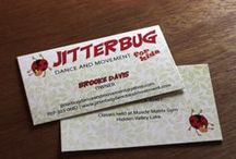 {client focus} jitterbug dance and movement / We designed the logo, printed the business card, built the website, and set up the Facebook page!