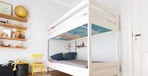 Kids rooms with bunks beds / Such effort to make beautiful fun sleeping spaces for our kids, but most leave the one area they spend most of their time in bare with a mattress or wooden frame exposed - in the bunk bed.