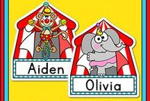 Circus Theme Classroom / Create a fun classroom with Pink Cat Studio's Circus theme classroom decor! Everything you need to decorate your classroom and motivate your students: behavior chart, classroom jobs labels, reward punch cards, clock decor, alphabet posters, numbers posters, nameplates, newsletter templates, birthday board and editable labels so you can get creative and make anything you need.