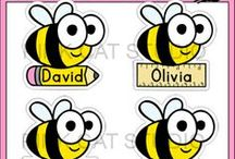Bee Theme Classroom / Create a fun classroom with Pink Cat Studio's bee theme classroom decor! Everything you need to decorate your classroom and motivate your students: behavior chart, classroom jobs labels, reward punch cards, clock decor, alphabet posters, numbers posters, nameplates, newsletter templates, birthday board and editable labels so you can get creative and make anything you need.