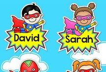 Superhero Theme Classroom / Create a SUPER classroom with Pink Cat Studio's Superhero theme classroom decor! Everything you need to decorate your classroom and motivate your students: behavior chart, classroom jobs labels, reward punch cards, clock decor, alphabet posters, numbers posters, nameplates, newsletter templates, birthday board and editable labels so you can get creative and make anything you need.