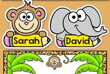 Jungle Theme Classroom / Create a fun classroom with Pink Cat Studio's jungle theme classroom decor! Everything you need to decorate your classroom and motivate your students: behavior chart, classroom jobs labels, reward punch cards, clock decor, alphabet posters, numbers posters, nameplates, newsletter templates, birthday board and editable labels so you can get creative and make anything you need.