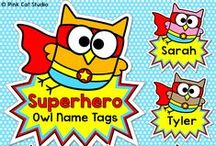 Superhero Owls Classroom / Create a SUPER classroom with Pink Cat Studio's Superhero Owls theme classroom decor!
