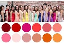 Wedding Color Ideas / Pins, color wheels, and palette ideas for your next wedding inspiration! Don't forget to head to www.weddingprepgals.com to get a custom bridesmaids robe to match!