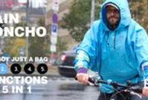 Bag Five - Rain Poncho 2. Function  / With just a few motions the Bigo Bag Five becomes a rain poncho, short or long, just when you need it. Just the right protection whether you find yourself in a drizzle or a downpour. It's also good for light snow. 100% water-resistant material.