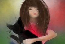 Girls / Рисую девочек всеми подручными средствами: цифровая графика, карандаши, акварель, масло.  Приятного просмотра!