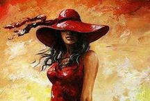 Women in red / Beautiful paintings from (mostly) a lady small and great in red