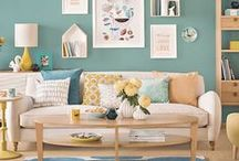 Grey - turquoise - yellow home decor