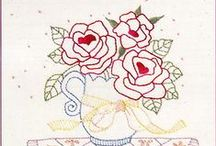 Riscos Flores / Risco, gráficos ou imagens para bordar ou pintar.
