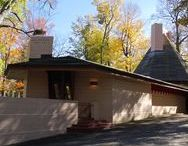 """FLLW - Davis House """"Woodside"""" / Dr. Richard Davis House """"Woodside"""". 1955. 1119 Overlook Rd., Marion IN This Usonian """"Tepee"""" is a large concrete block house with two long wings that angle out from the central tepee core. One of the bedroom wings was added a few years after the main house was built. It has cherokee red concrete floors with radiant heating scored in a parallelogram pattern."""