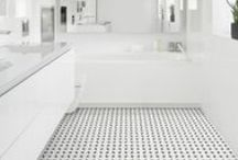 Heritage Mosaics / This black and white Mosaic carries out a mid century look.  With a variety of 10 colors and patterns this timeless product is a perfect fit for all bathrooms and kitchens as well as outdoor areas being that it is both indoor and outdoor approved.