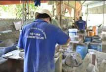 Cement tile workers / Cement tile production workers. These talented artisans.
