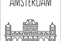 Steden raamtekeningen / Straatjes raamtekening ontwerpen met bijzondere en herkenbare architectuur van Nederlandse steden.