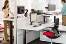 """Primary Workspace / Designed for concentrative work by one person. Focused planning allows individuals to concentrate on their work without being isolated from their co-workers. Shared desktops offer both planned and spontaneous collaboration. A """"big-table"""" configuration encourages a team to communicate freely and frequently."""