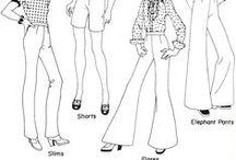 Type of pants - Lahkeita / Kuvia vaatteenvalmistusprosessin mallin luonnostelukertaa varten.