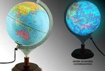 Bolas del Mundo Iluminadas / Lámparas bola del mundo iluminadas desde su interior #lamparas #iluminacion #decoracion
