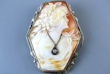 """Antique and vintage cameo brooch pins and pendants / Cameos make an incredible traditional bridal gift from mother to daughter, usually given with the intent of wearing at the wedding ceremony, and to eventually pass down to their own daughter. They also make a very popular choice for """"Something Borrowed""""."""