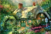 ART Cottages / Delightful olde cottage paintings.  Please respect the artists' copyrights ... and enjoy.