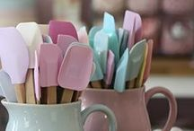 Kitchen / Pastels and pinks. All a girl could ever ask for....