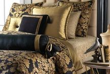 Master Bedroom / Gold and black accentuated bedroom.