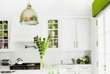 Kitchen A / Brilliant white kitchen with lime green accents.