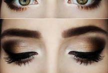 Makeup / Beiges, browns, blacks, false lashes, smokey eyes, colourful lips, bronzed.