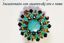 pendenti cabochon swarovski / pendenti cabochon , interamente lavorato a mano con perle Swarovski, perline di boemia nichel free