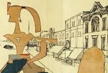 "STEINBERG/THE AMERICANS / Amazing 1958 mural called ""The Americans"" by the master Saul Steinberg."