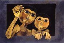 ₪ Oswaldo Guayasamín / Pintor, dibujante, escultor, grafista y muralista ecuatoriano. Su obra humanista, señalada como expresionista, refleja el dolor y la miseria que soporta la mayor parte de la humanidad y denuncia la violencia que le ha tocado vivir al ser humano en el Siglo XX marcado por las guerras mundiales, las guerras civiles, los genocidios, los campos de concentración, las dictaduras, las torturas.「1919―1999」
