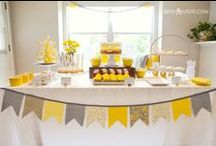 Baptism party / Baptism party Baby girl Yellow & Grey