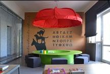 "Umbrella pediatric clinic / The client's request was to create a kids-friendly space. ""Waiting for the doctor is taking forever and it should be funnier"" a kid would think. So the waiting area is quite reminding a playground or a nursery scool. The doctor's office is attempting to distract  a kid from the fear of pain .  Kids love colours, animals, flexible material, rearrangeable objects. Grown ups from the other hand love durable material and constructions. Ballance is hard to achieve !"