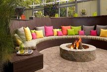 Backyard Living / Backyards are the new living rooms!  Backyard living areas, diy backyard ideas, fire pits, swimming pools, backyards on a budget, play sets, swing sets, water features. #backyard #diy