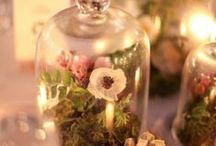 glass dome/ガラスドーム / ガラスの中にお花の世界を演出する素敵なコーディネート。お花に外に、好きないアテムを取り入れたガラスの中だけの世界観が素敵。