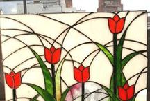 vitral tulipanes noviembre / Vitral tecnica Tiffany step by step